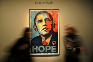 (FILES) People walk past Shepard Fairey'